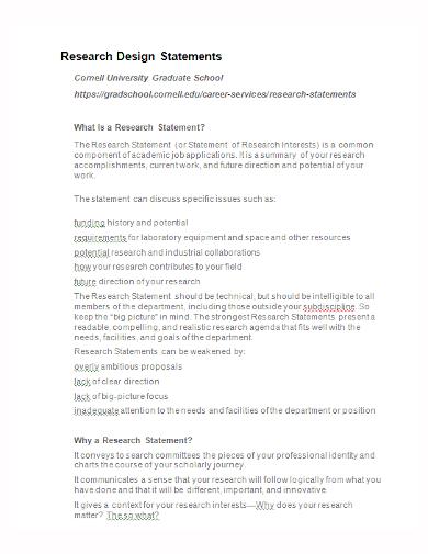 sample research design statement