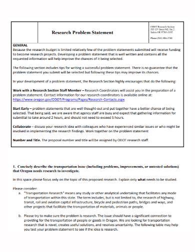 sample research problem statement