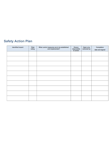 sample safety action plan
