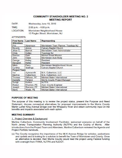 sample stakeholders meeting report