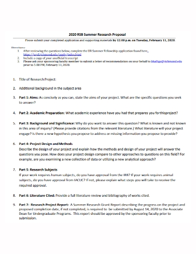 sample summer research proposal