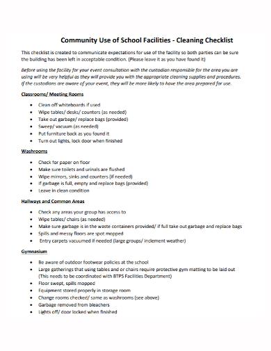 school community facility cleaning checklist