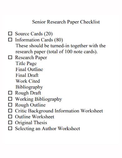senior research paper checklist