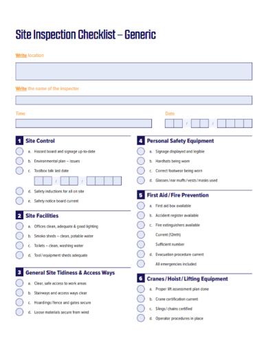 site safety equipment inspection checklist