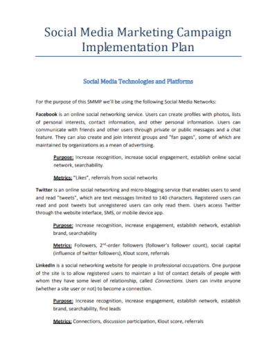 social media marketing implementation plan