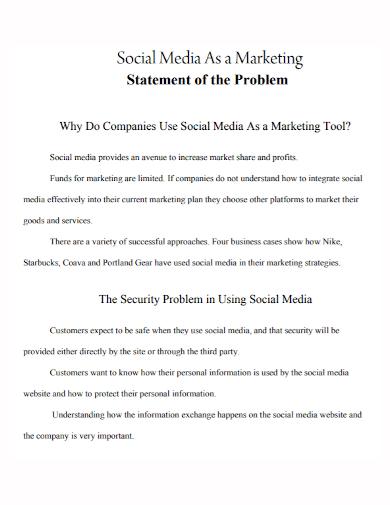 social media marketing problem statement