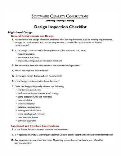 software design inspection checklist