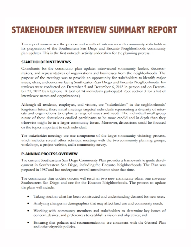 stakeholder interview summary report