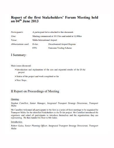 stakeholders forum meeting report