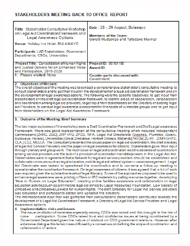 stakeholders meeting office report
