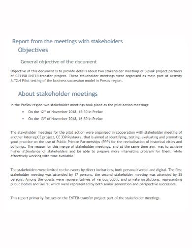 stakeholders meeting report
