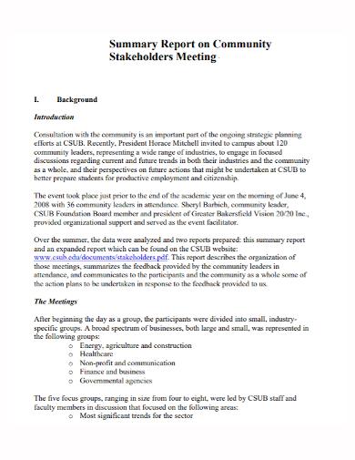 stakeholders meeting summary report