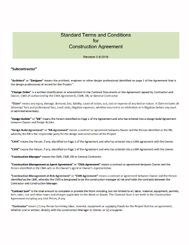 standard architect subcontractor agreement
