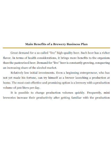 standard brewery business plan