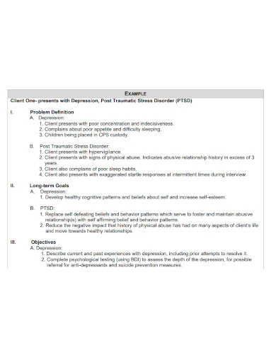 standard client treatment plan