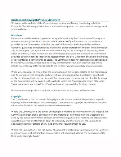 standard copyright disclaimer statement