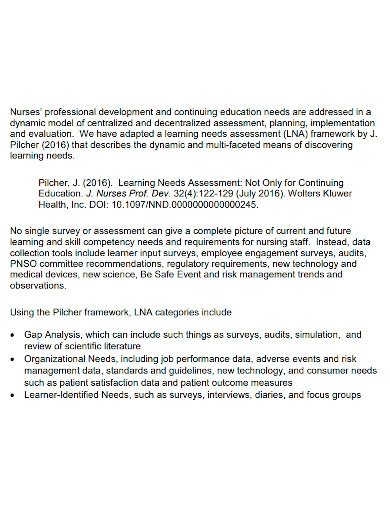 standard educational needs assessment