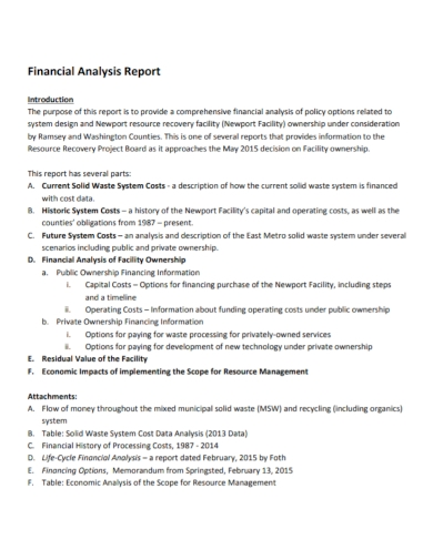 standard financial analysis report