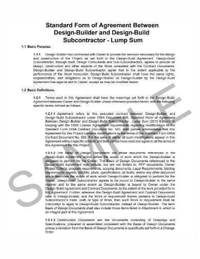 standard form subcontractor agreement