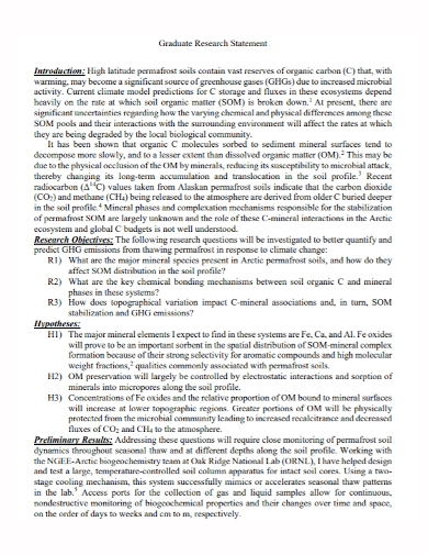 standard graduate research statement