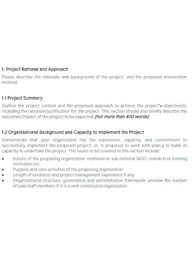 standard health project proposal
