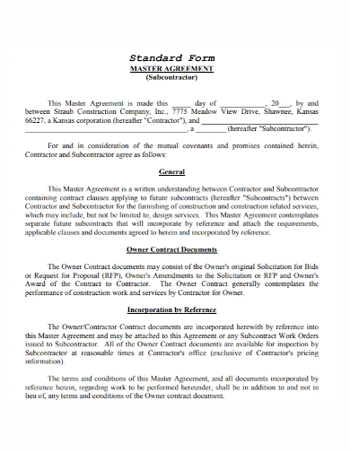 standard master subcontractor agreement