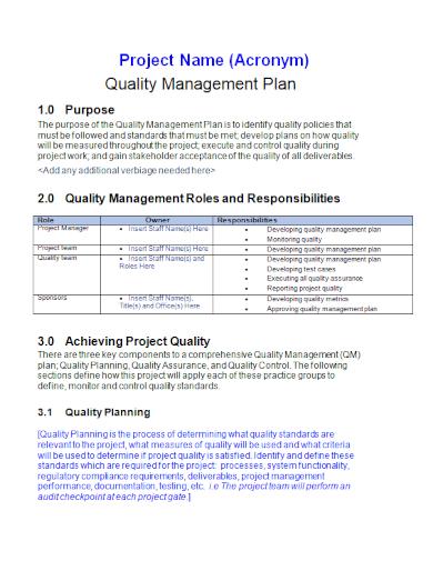 standard project quality management plan