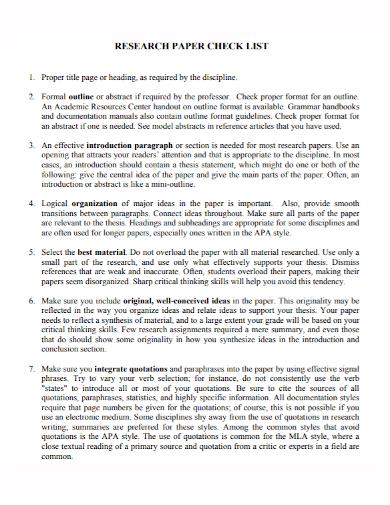 standard research paper checklist