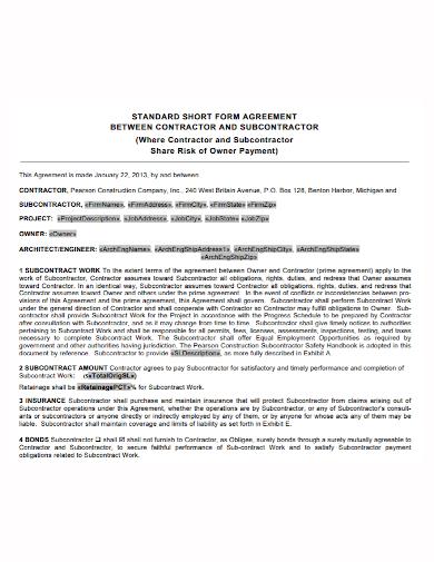 standard short form subcontractor agreement1