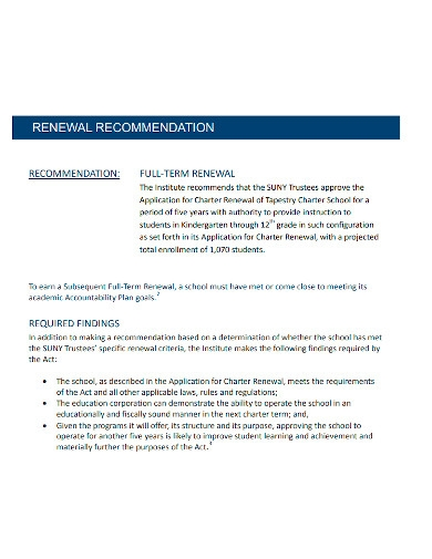 standard students recommendation report