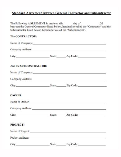 standard subcontractor agreement