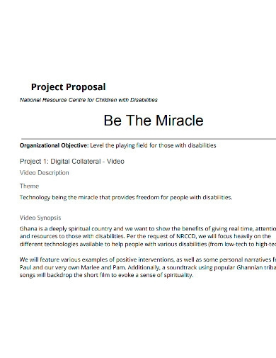 standard video project proposal