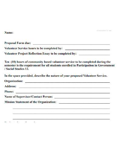 standard volunteer project proposal