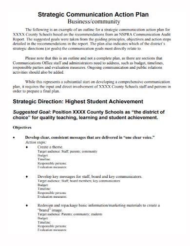 strategic business communication action plan