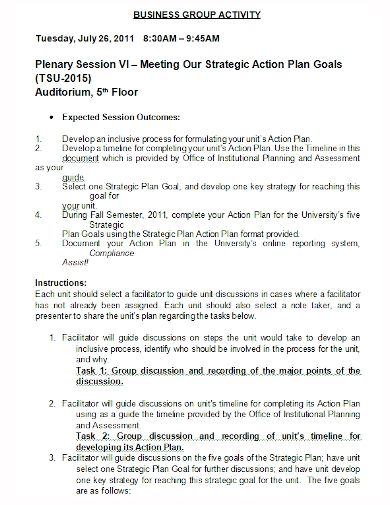 strategic business group action plan