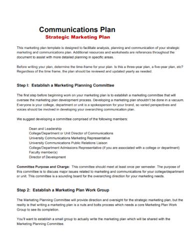 strategic marketing communications plan