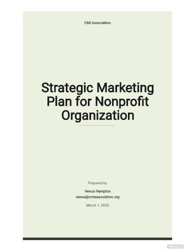 strategic marketing plan for nonprofit organization