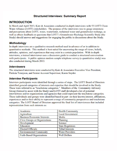 structured interview summary report