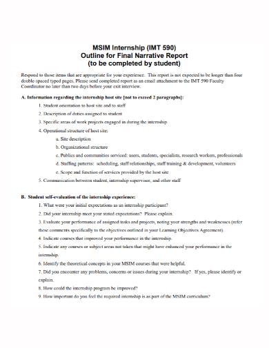 student internship final narrative report