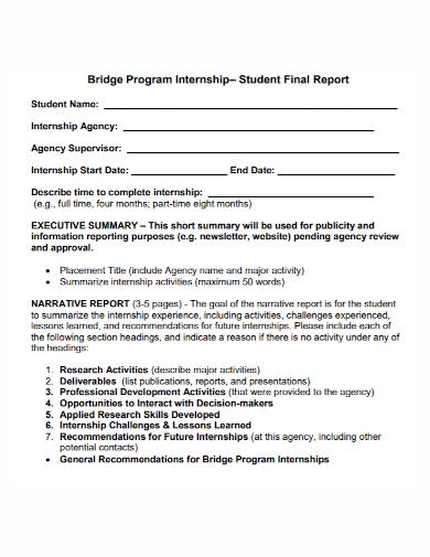 student internship program narrative report