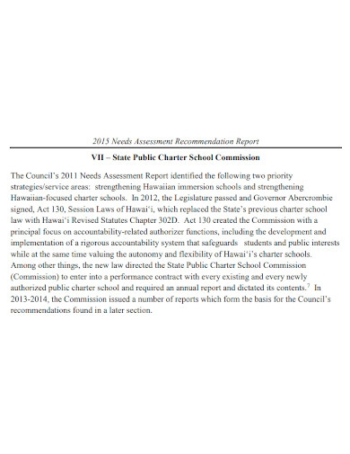student needs assessment recommendation report