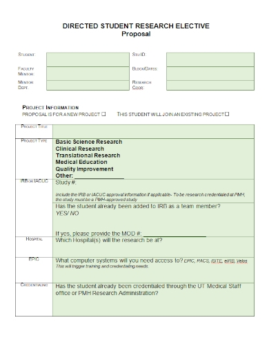 student research elective proposal