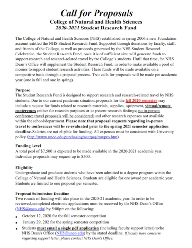student research fund call for proposal