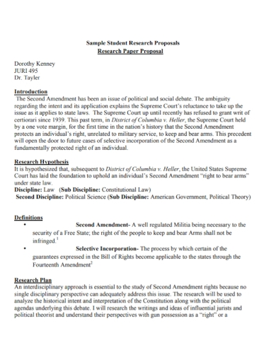 student research paper proposal
