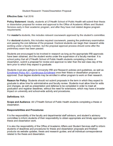 student research thesis dissertation proposal