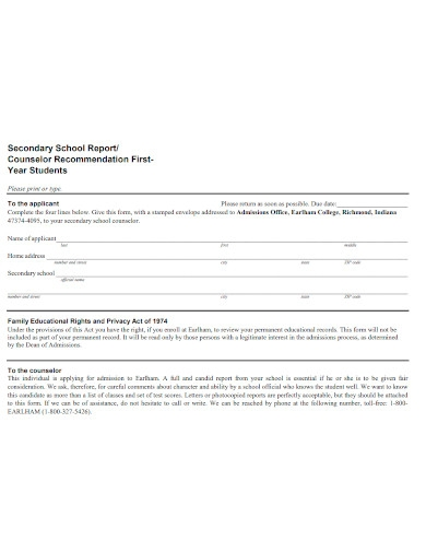 students recommendation report sample