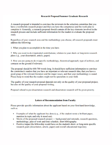 summer graduate research proposal