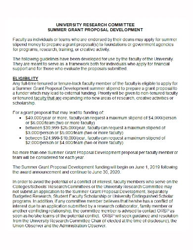summer research committee grant proposal