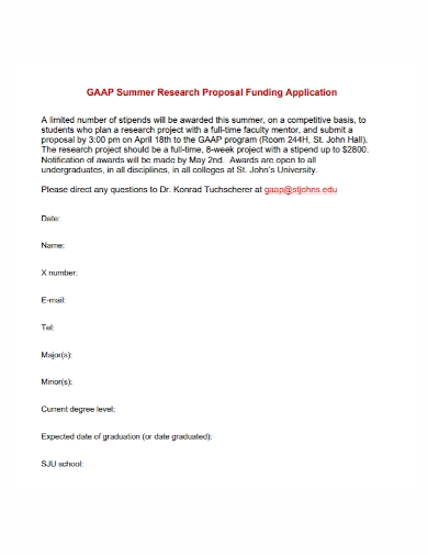 summer research funding proposal