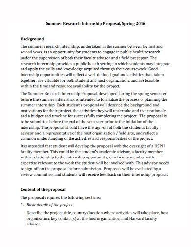 summer research internship proposal